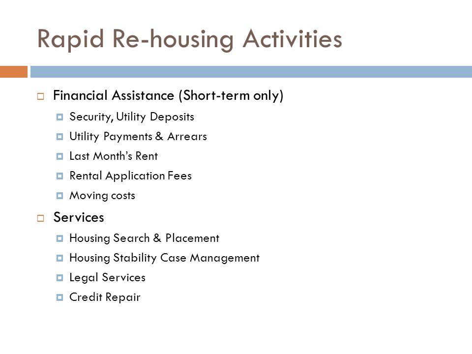 Rapid Re-housing Activities