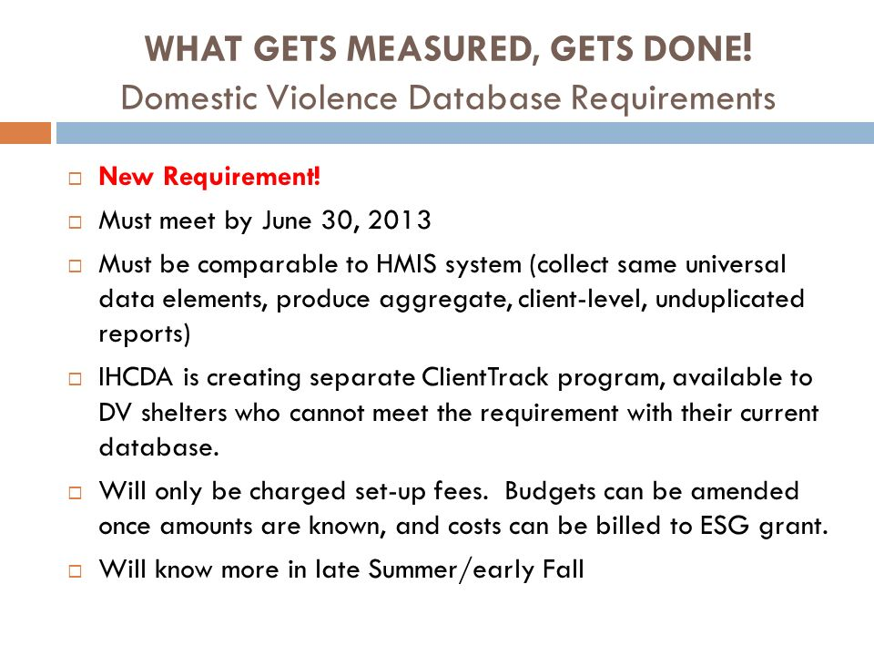 WHAT GETS MEASURED, GETS DONE! Domestic Violence Database Requirements
