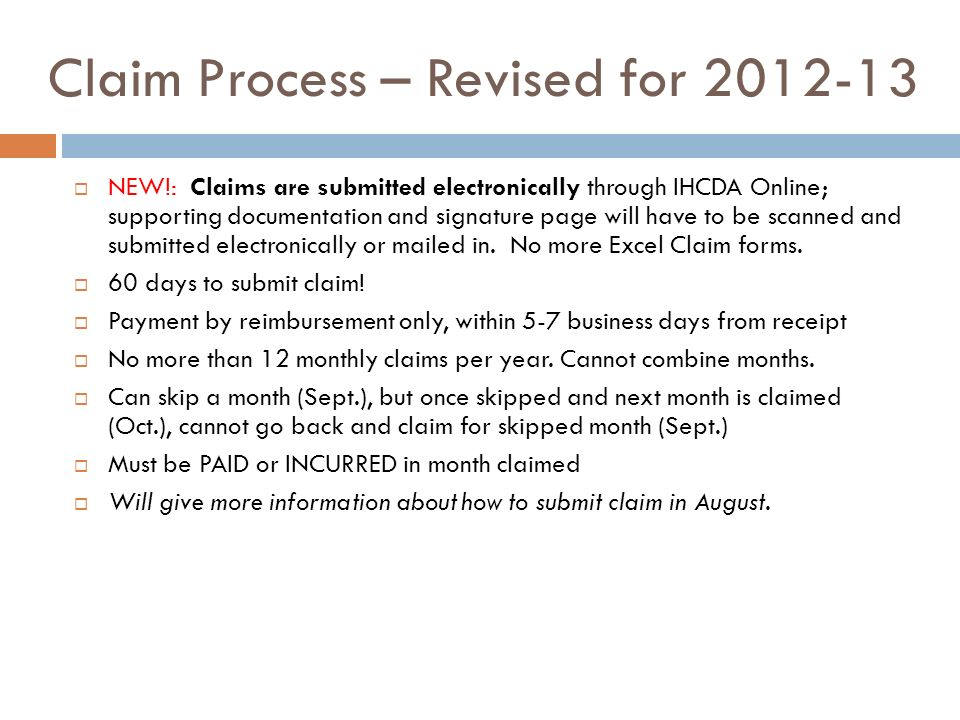 Claim Process – Revised for 2012-13