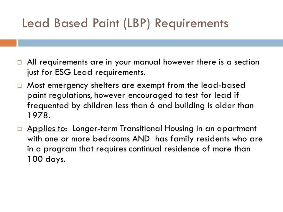 Lead Based Paint (LBP) Requirements