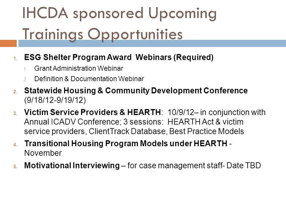 IHCDA sponsored Upcoming Trainings Opportunities