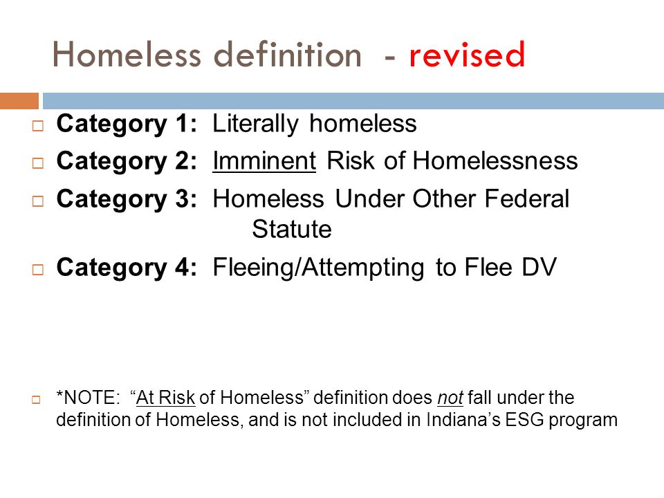 Homeless definition - revised