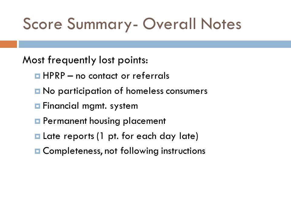 Score Summary- Overall Notes