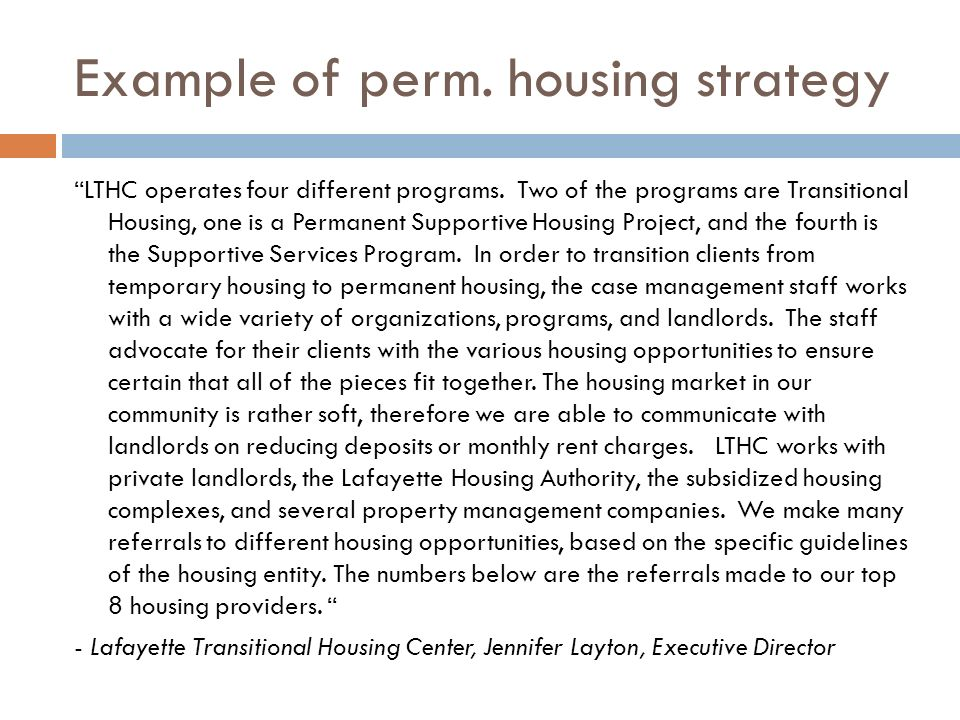 Example of perm. housing strategy