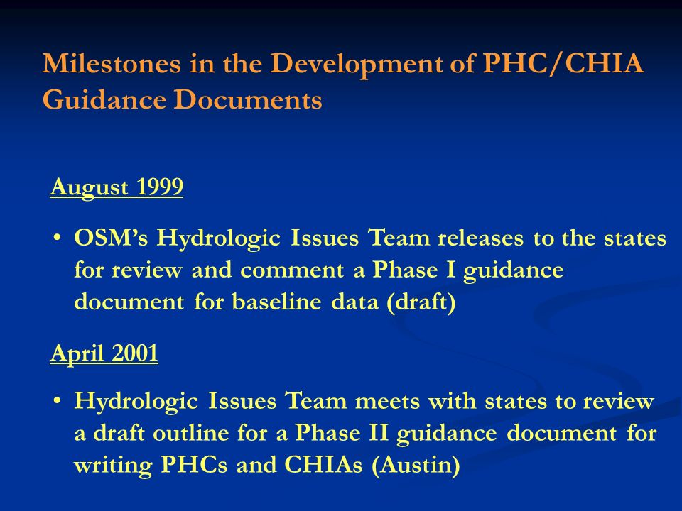 Milestones in the Development of PHC/CHIA Guidance Documents