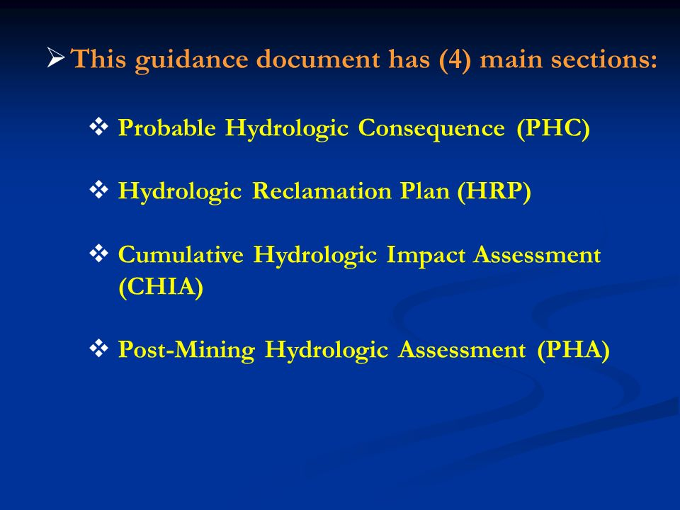 This guidance document has (4) main sections: