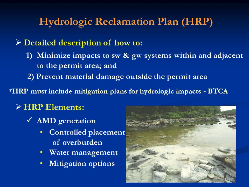 Hydrologic Reclamation Plan (HRP)