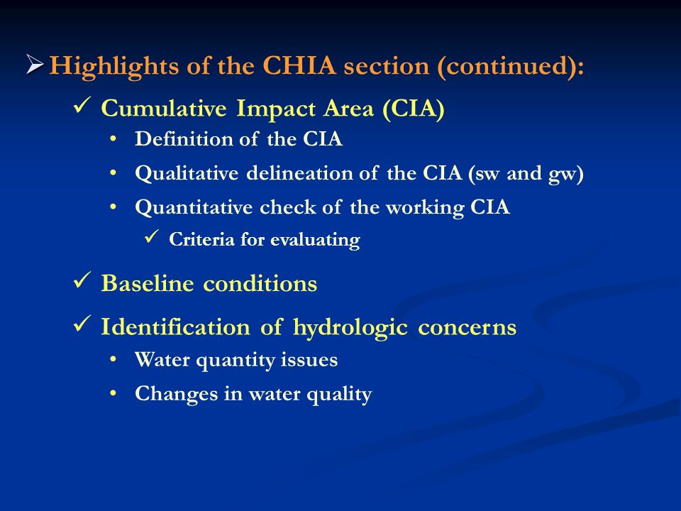 Highlights of the CHIA section (continued):