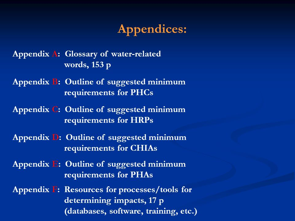Appendices: Appendix A: Glossary of water-related words, 153 p