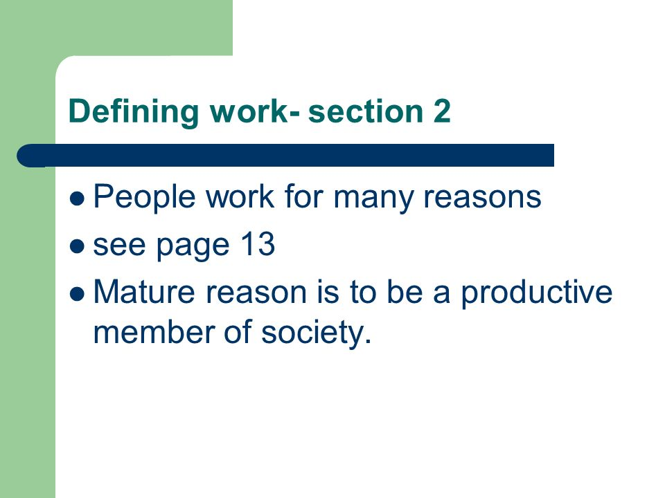Defining work- section 2