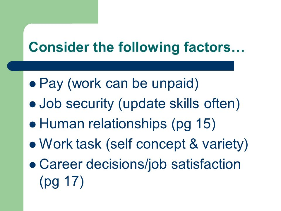 Consider the following factors…