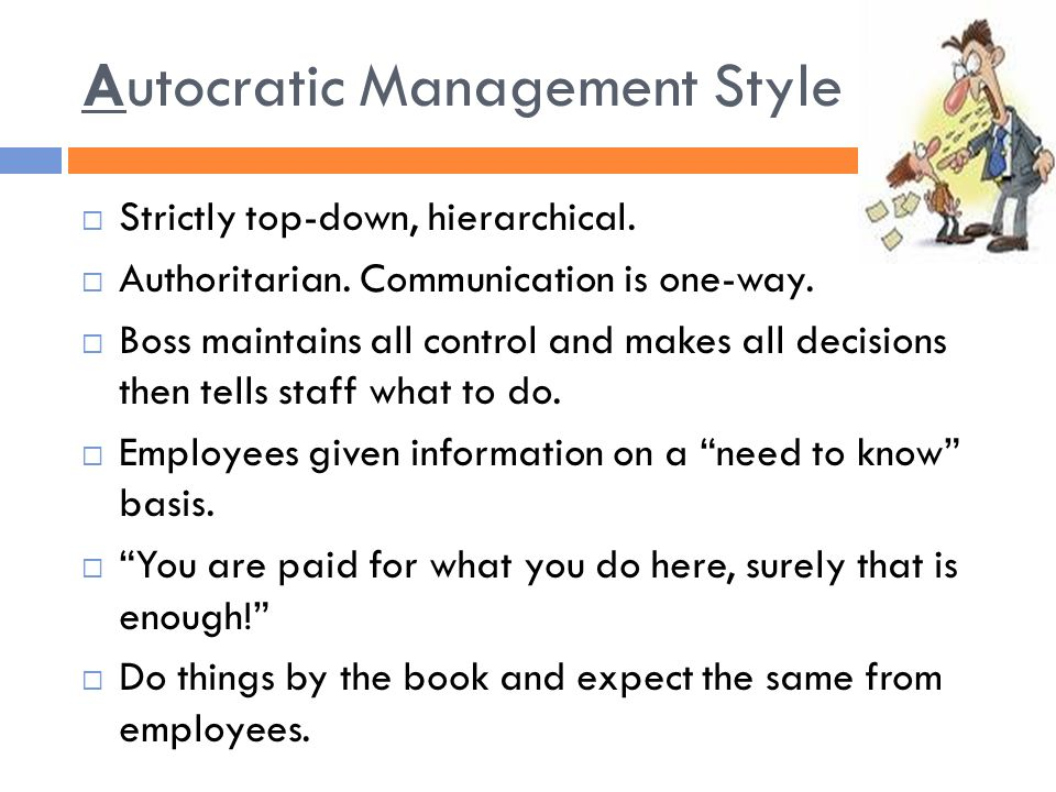 advantage of autocratic leadership style Also called the participative style, the democratic leadership style is important in the decision making process  autocratic and so on and one of them is the .