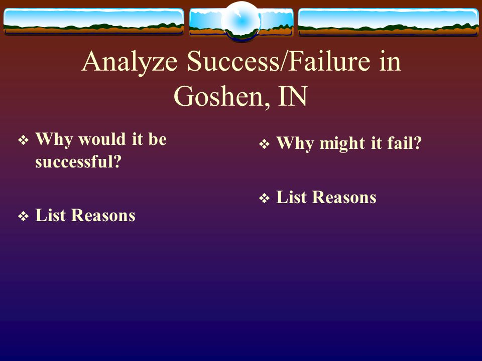 Analyze Success/Failure in Goshen, IN