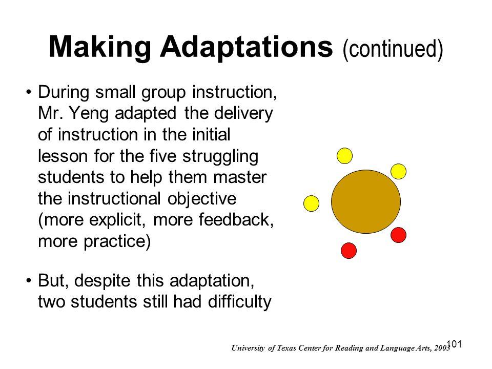 Making Adaptations (continued)