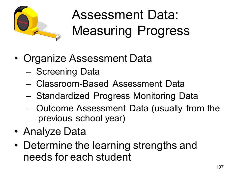 Assessment Data: Measuring Progress