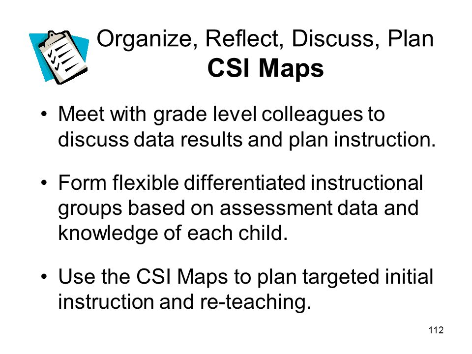 Organize, Reflect, Discuss, Plan CSI Maps