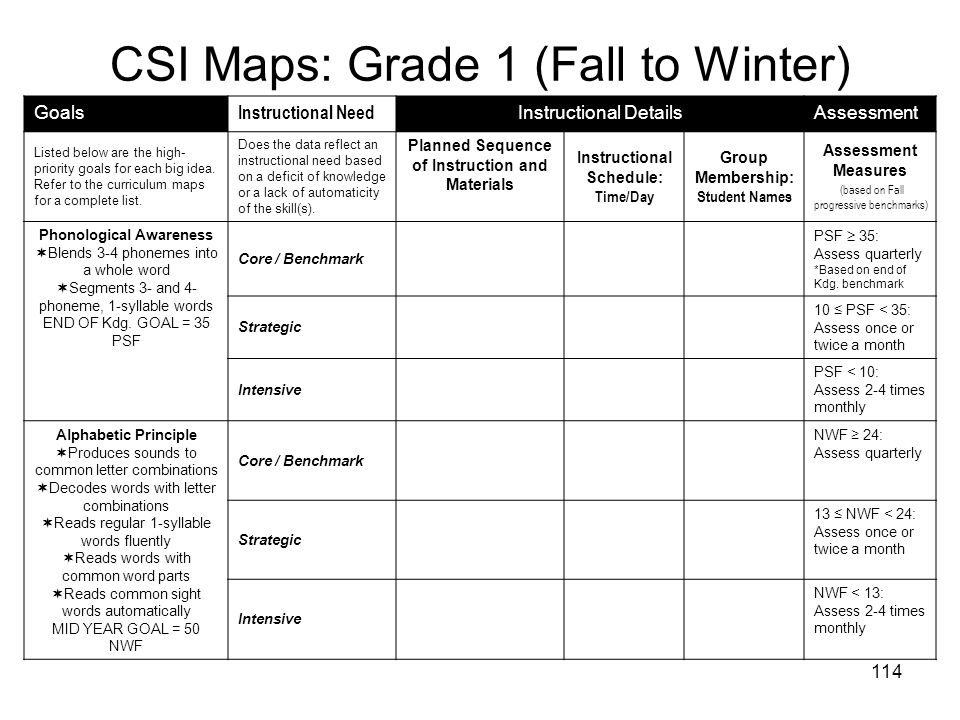CSI Maps: Grade 1 (Fall to Winter)
