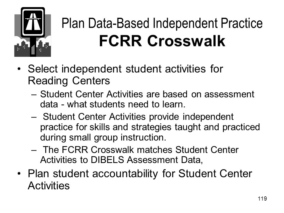 Plan Data-Based Independent Practice FCRR Crosswalk
