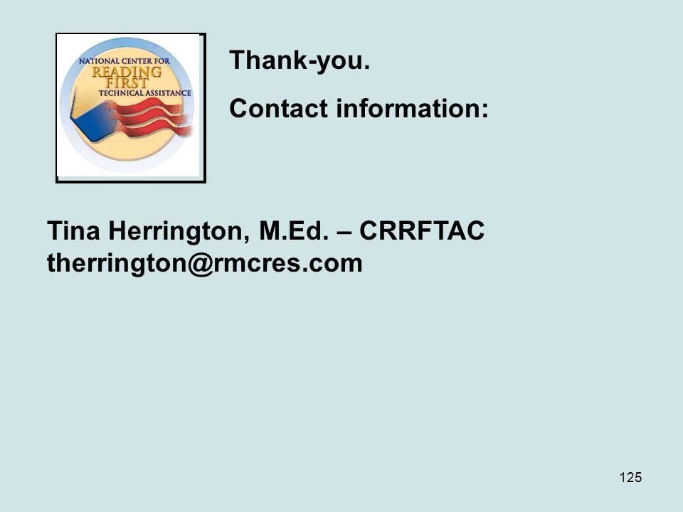 Tina Herrington, M.Ed. – CRRFTAC therrington@rmcres.com