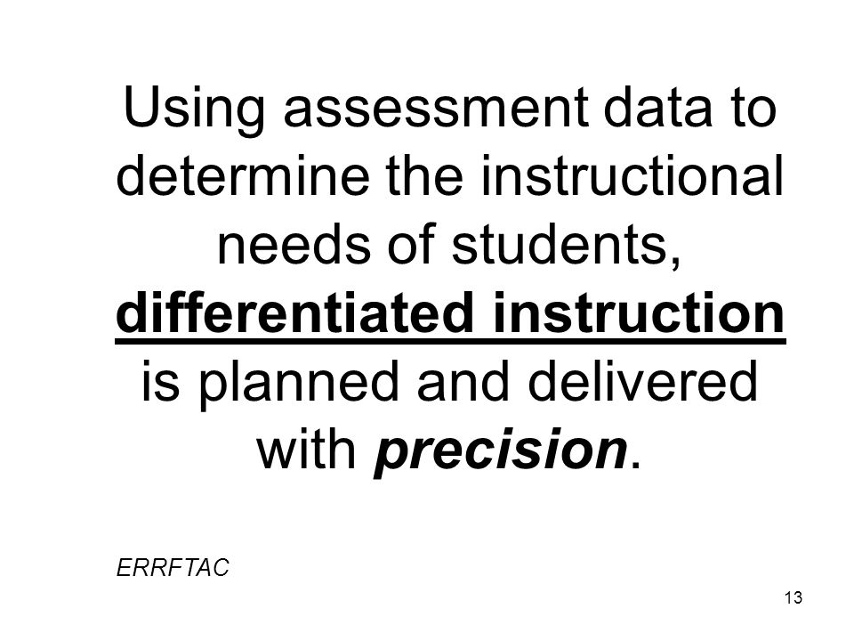 Using assessment data to determine the instructional needs of students, differentiated instruction is planned and delivered with precision.