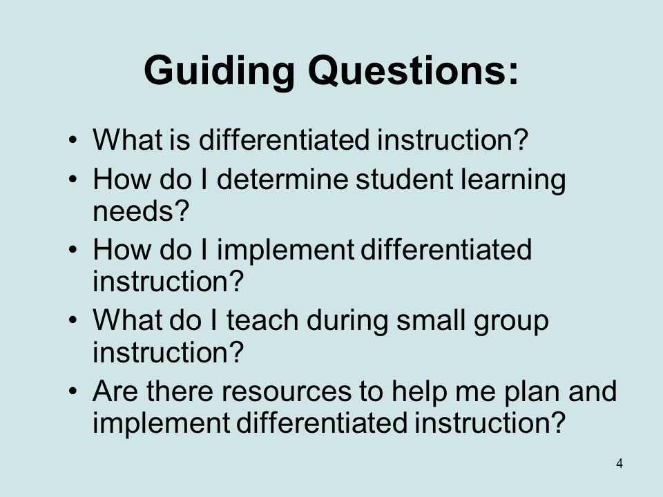 Guiding Questions: What is differentiated instruction