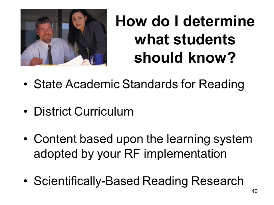 How do I determine what students should know