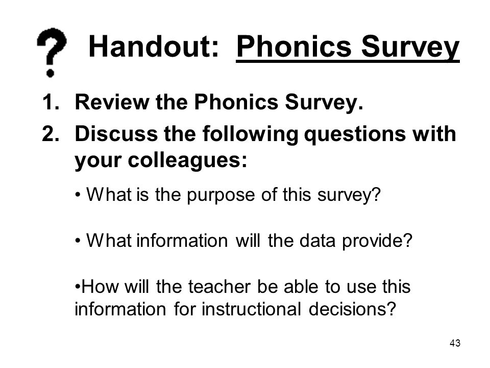 Handout: Phonics Survey