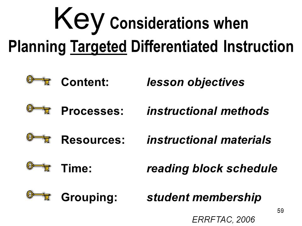 Key Considerations when Planning Targeted Differentiated Instruction