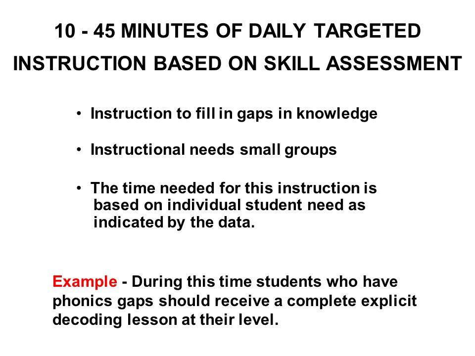 10 - 45 MINUTES OF DAILY TARGETED INSTRUCTION BASED ON SKILL ASSESSMENT