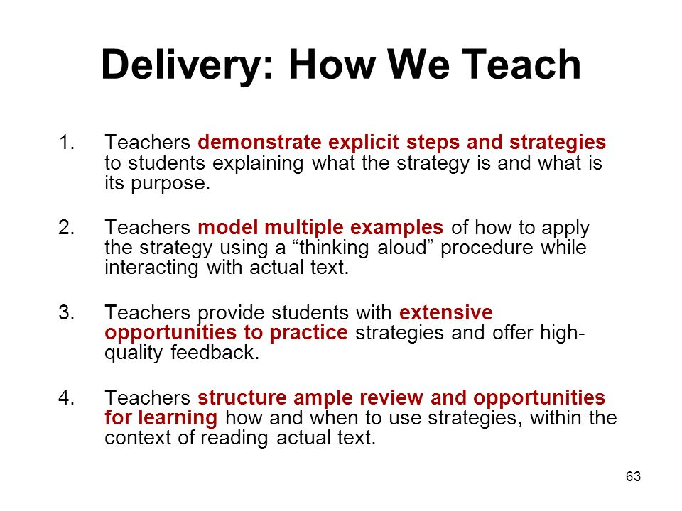 Delivery: How We Teach Teachers demonstrate explicit steps and strategies to students explaining what the strategy is and what is its purpose.