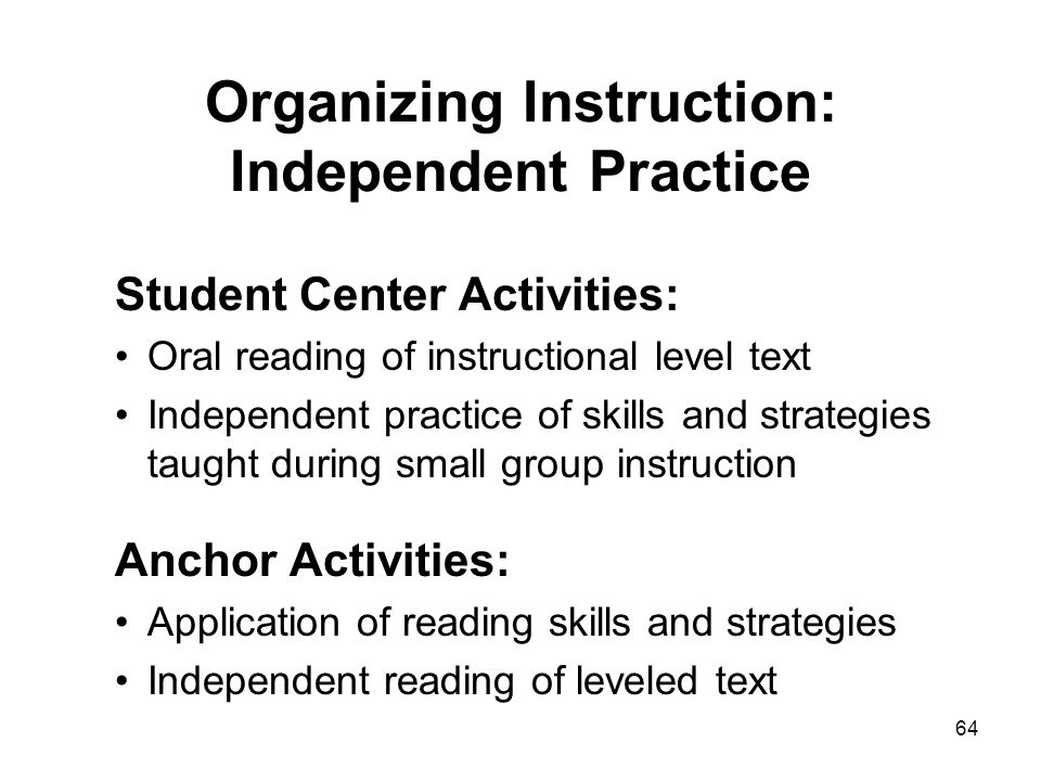 Organizing Instruction: Independent Practice