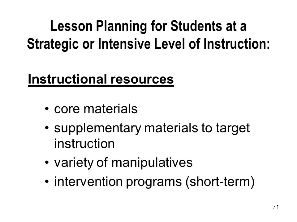 Lesson Planning for Students at a Strategic or Intensive Level of Instruction: