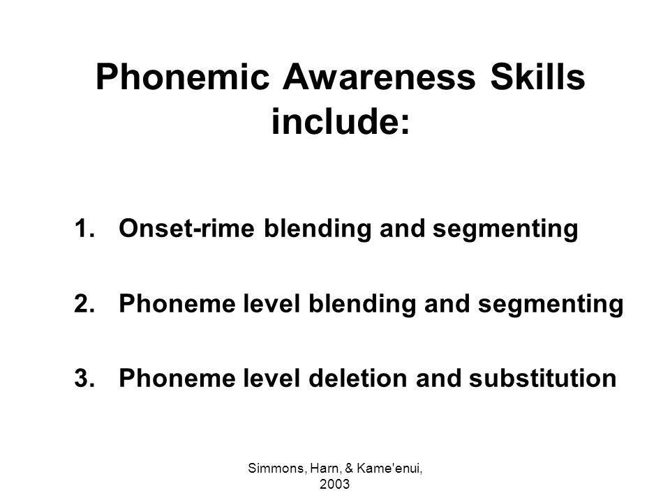 Phonemic Awareness Skills include: