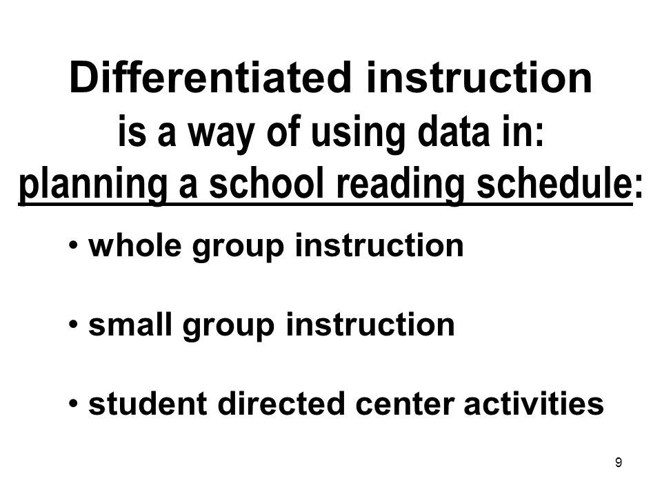 Differentiated instruction is a way of using data in: