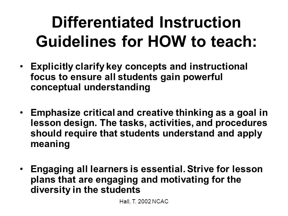 Differentiated Instruction Guidelines for HOW to teach:
