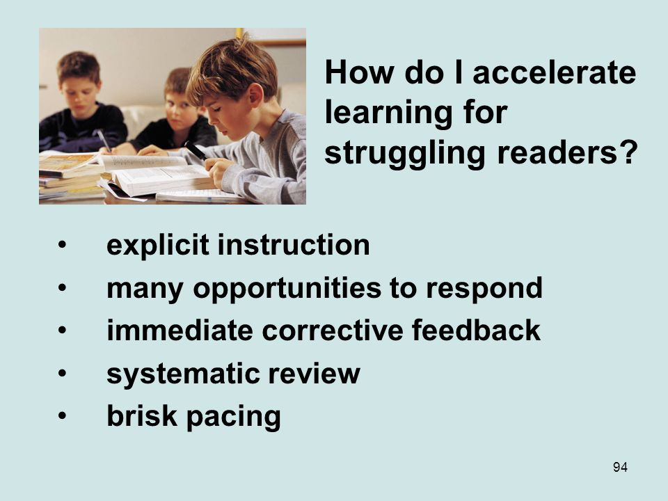 How do I accelerate learning for struggling readers