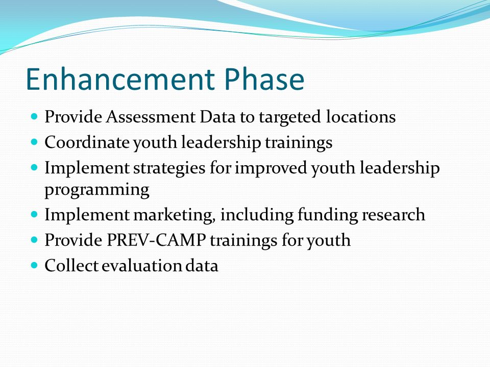 Enhancement Phase Provide Assessment Data to targeted locations