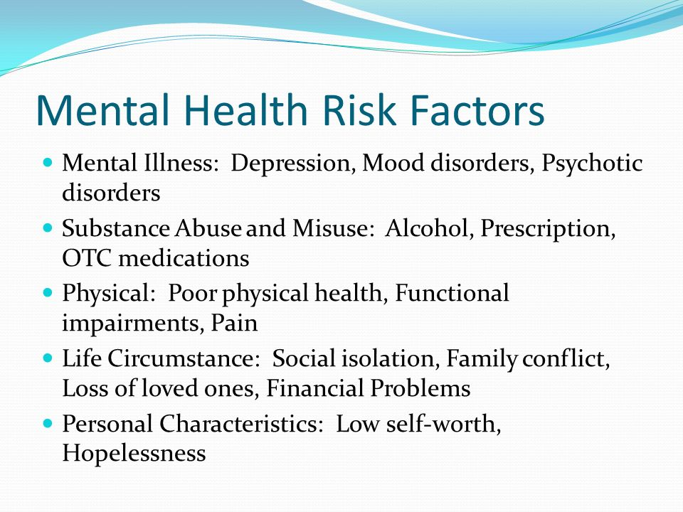 Mental Health Risk Factors