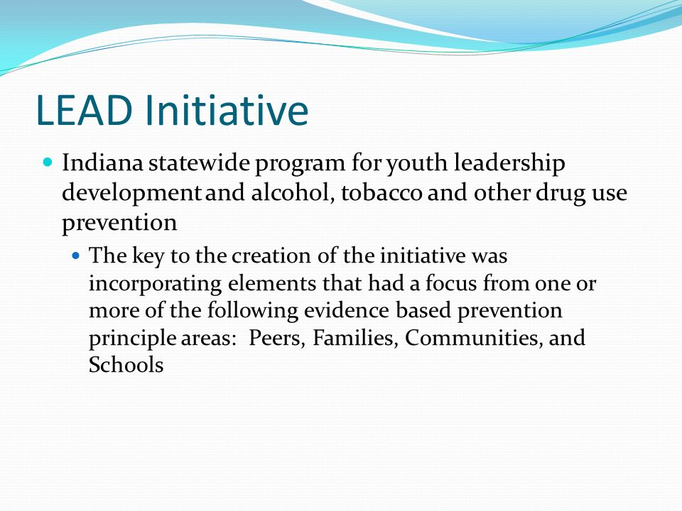 LEAD Initiative Indiana statewide program for youth leadership development and alcohol, tobacco and other drug use prevention.