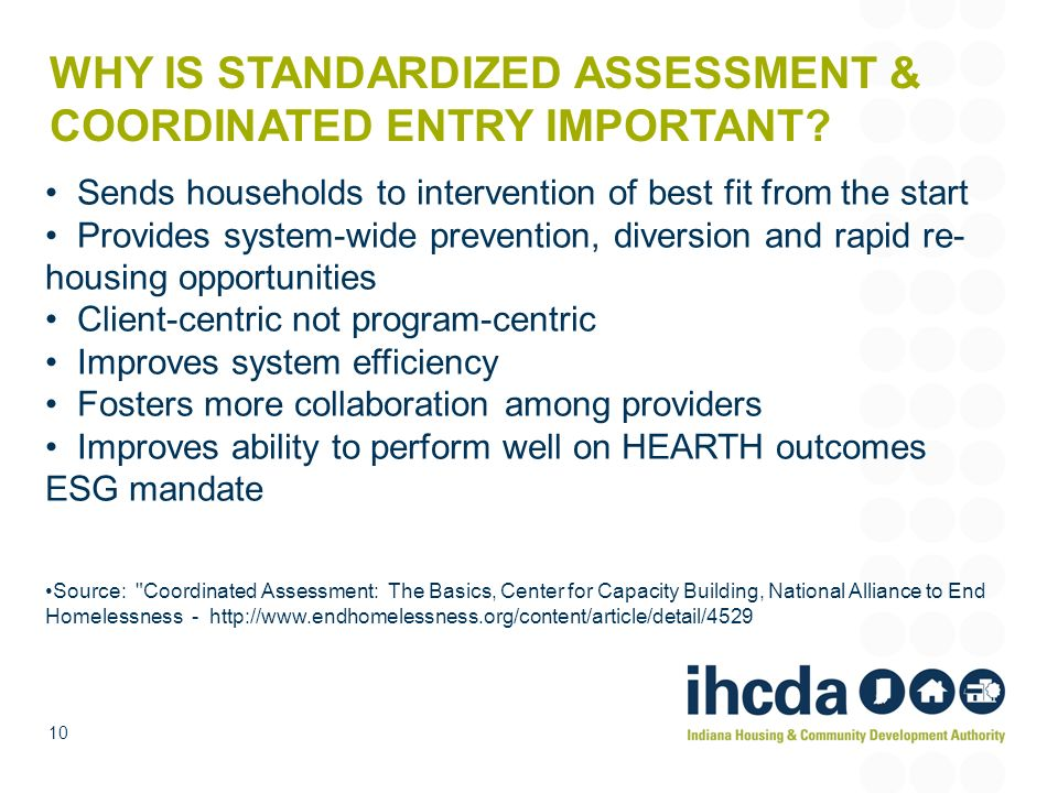 WHY IS STANDARDIZED ASSESSMENT & COORDINATED ENTRY IMPORTANT
