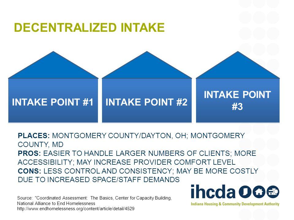 DECENTRALIZED INTAKE INTAKE POINT #1 INTAKE POINT #2 INTAKE POINT #3