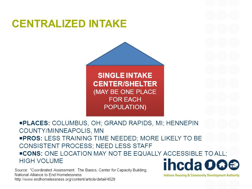 SINGLE INTAKE CENTER/SHELTER