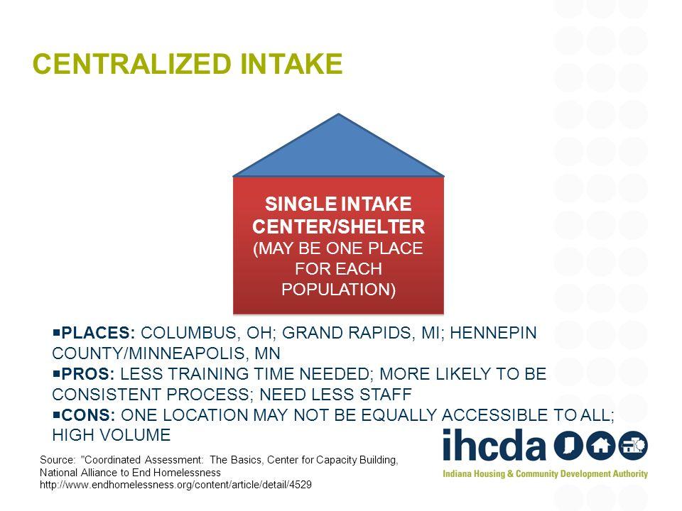 SINGLE INTAKE CENTER/SHELTER