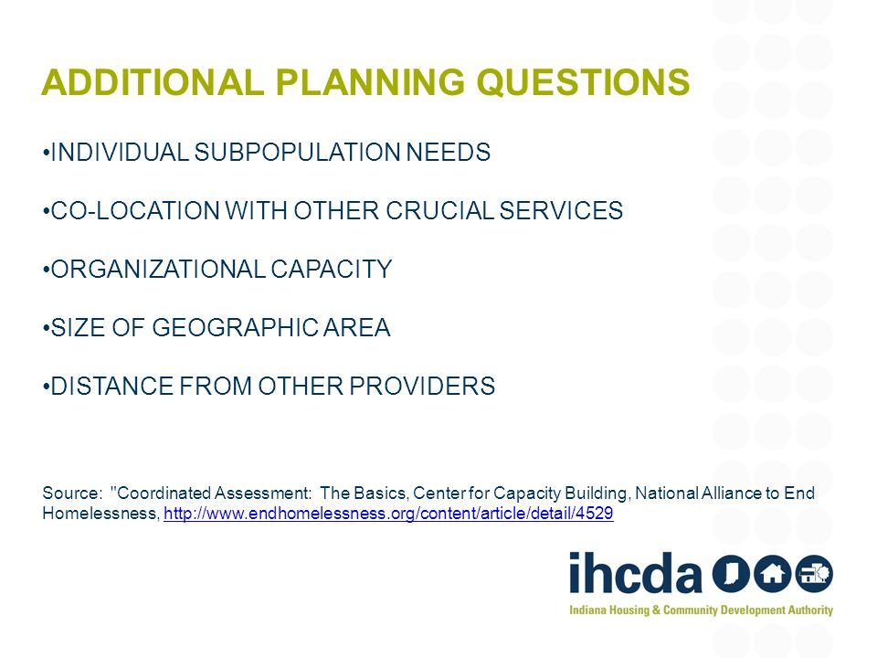 ADDITIONAL PLANNING QUESTIONS