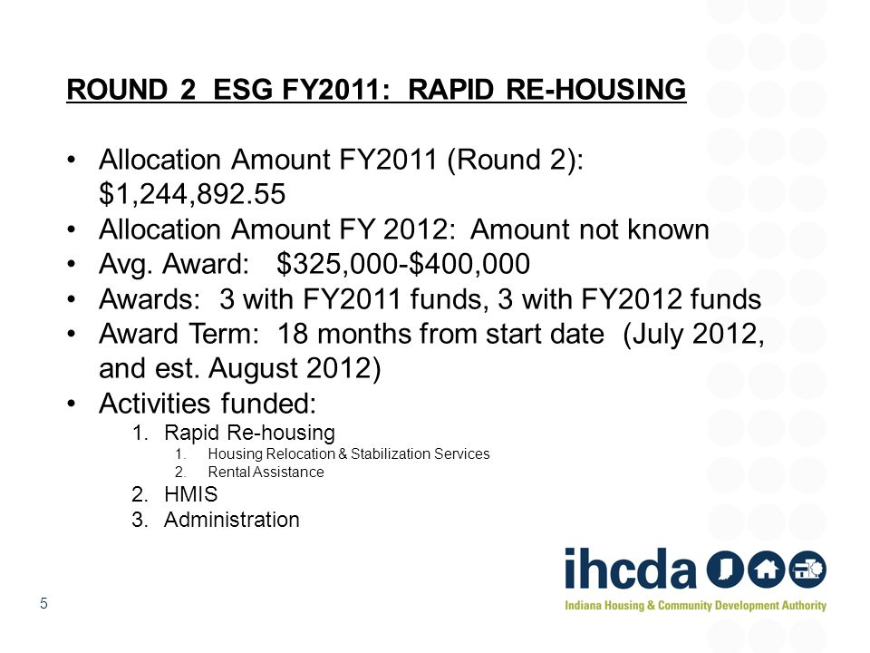ROUND 2 ESG FY2011: RAPID RE-HOUSING
