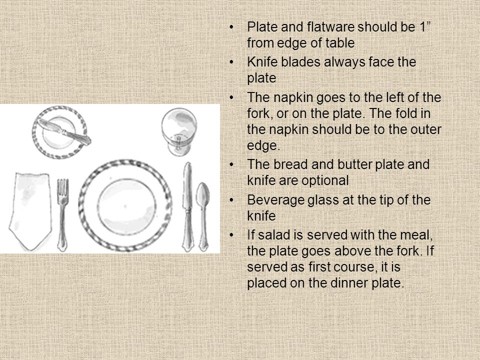 Plate and flatware should be 1 from edge of table