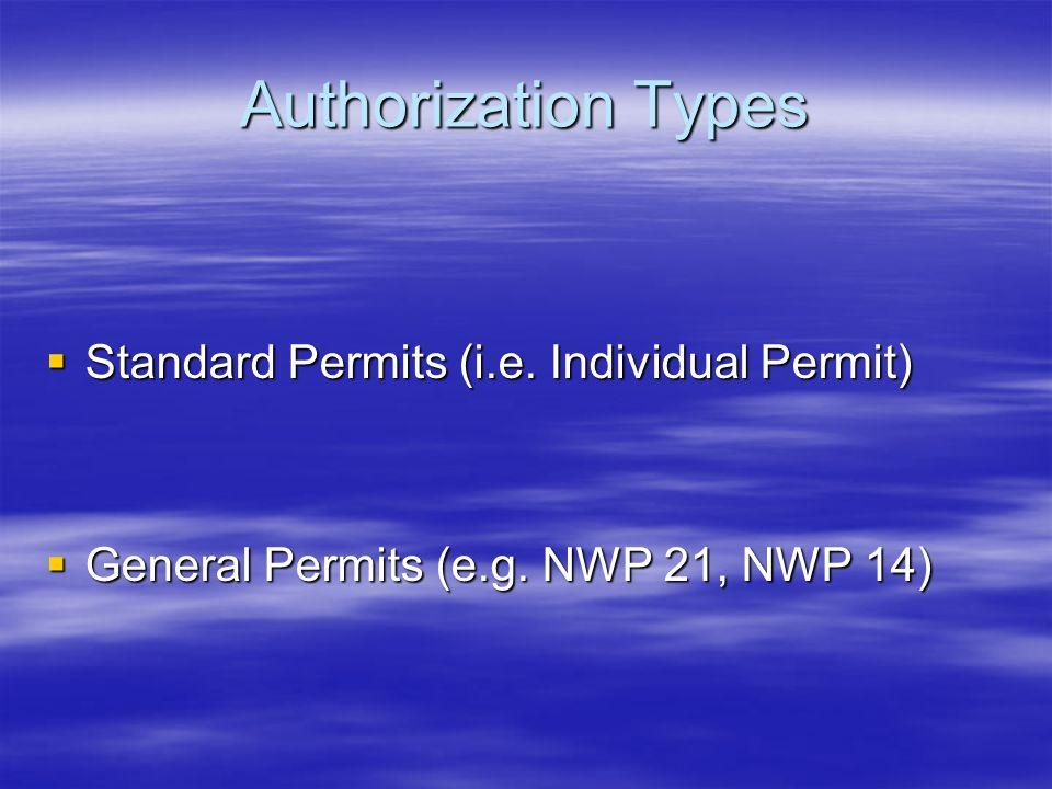 Authorization Types Standard Permits (i.e. Individual Permit)