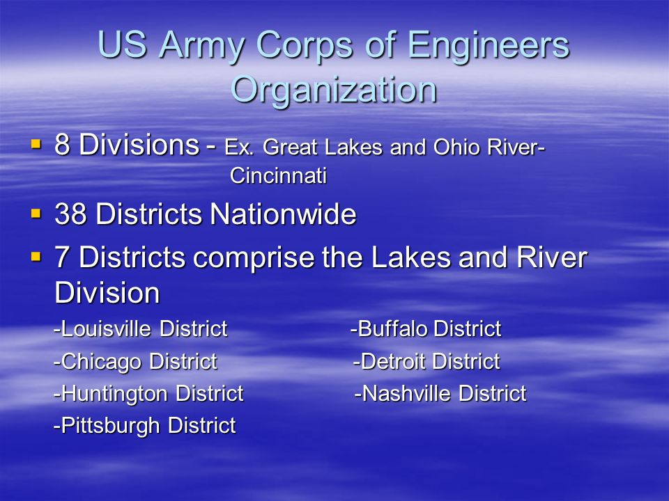 US Army Corps of Engineers Organization