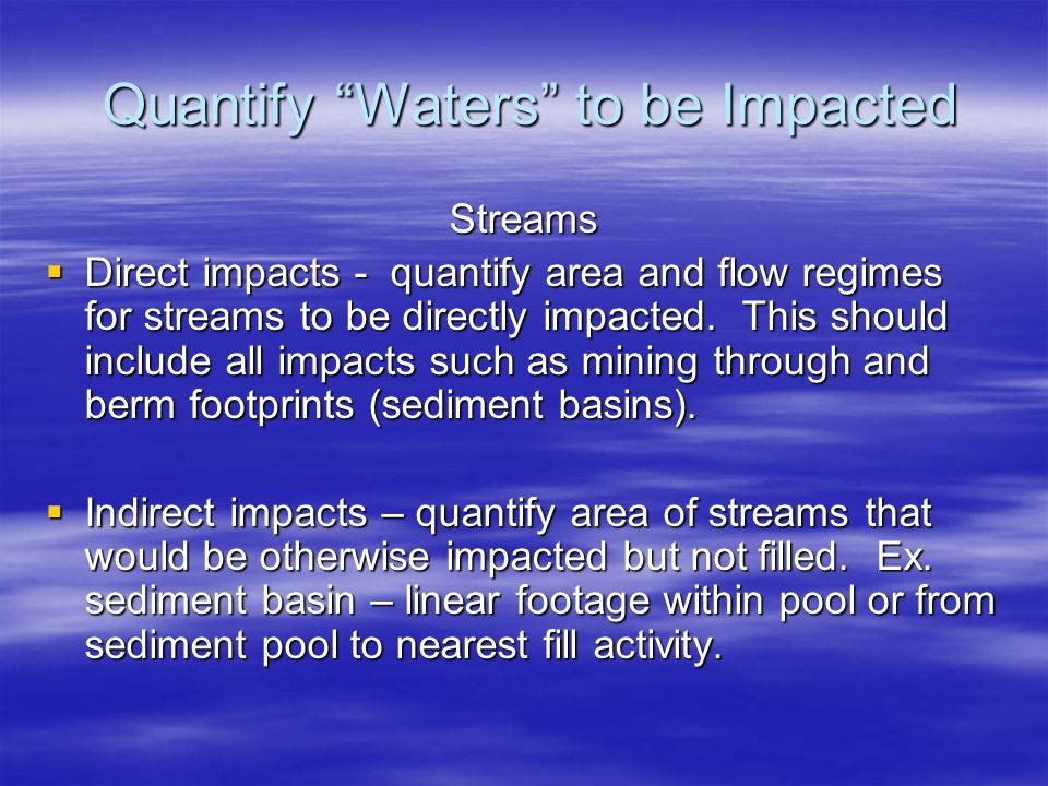 Quantify Waters to be Impacted