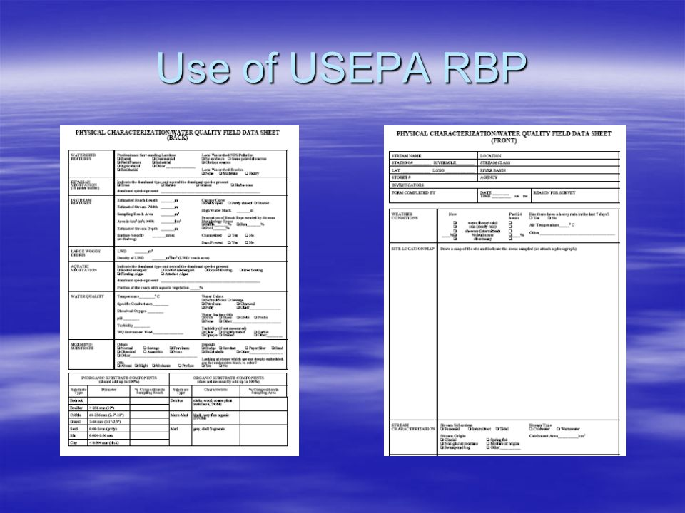 Use of USEPA RBP